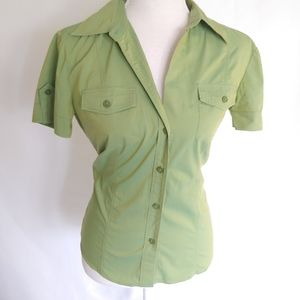 New York & Company Green Button Down Top